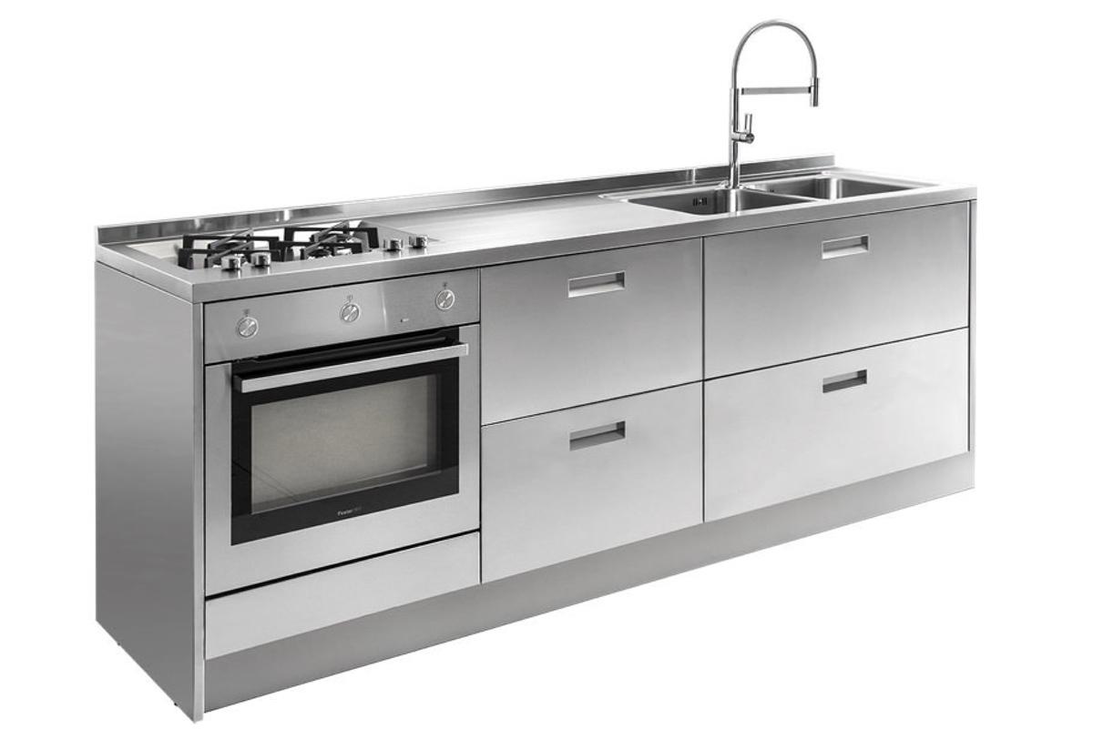 GPS Inox - Cucina in acciaio inox - Blocco cucina a parete