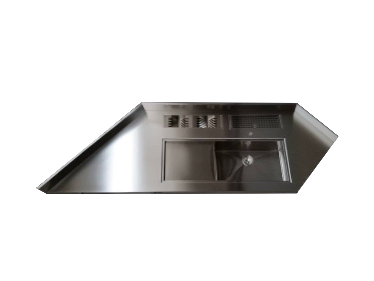 ANGULAR TOP WITH SINK, CHOPPING-BOARD AND EQUIPPED BASIN - GPS Inox